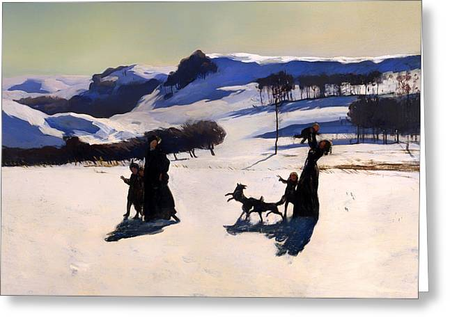Snow-covered Landscape Greeting Cards - Winter in the Berkshires Greeting Card by Rockwell Kent