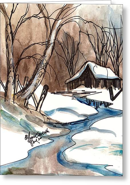 Skiing Art Cards Greeting Cards - Winter In The Cabin Greeting Card by Anna Sandhu Ray