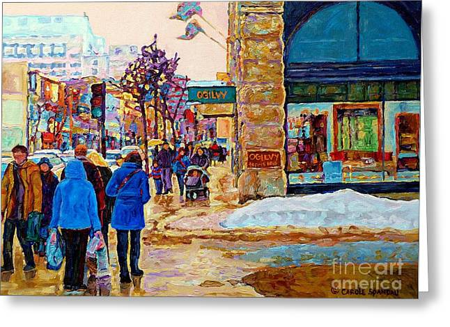 Catherine Window Greeting Cards - Winter In The City Downtown Montreal Stores Ogilvy Holt Renfrew Winter Street Scene C Spandau Art  Greeting Card by Carole Spandau