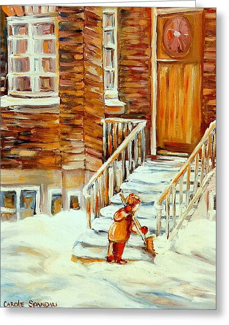 Spiral Staircase Paintings Greeting Cards - Winter In The City Snow Day Shovelling Steps After The Storm  Paintings Of Montreal Winter Scenes  Greeting Card by Carole Spandau
