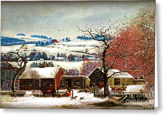 Winter Scenes Rural Scenes Greeting Cards - Winter In the Country Folk Art Greeting Card by Lianne Schneider