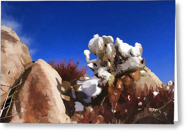 Painterly Greeting Cards - Winter in the Desert Greeting Card by Scott Campbell