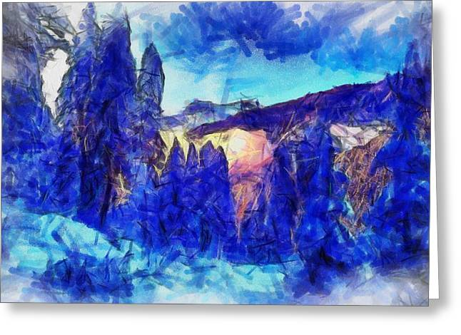 Snowy Evening Digital Art Greeting Cards - Winter in the mountains Greeting Card by Kvetoslava Stikovcova