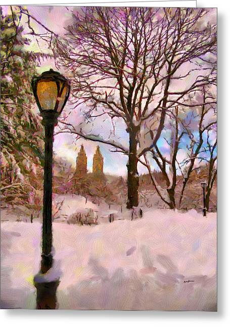 Streetlight Greeting Cards - Winter in the Park Greeting Card by Anthony Caruso