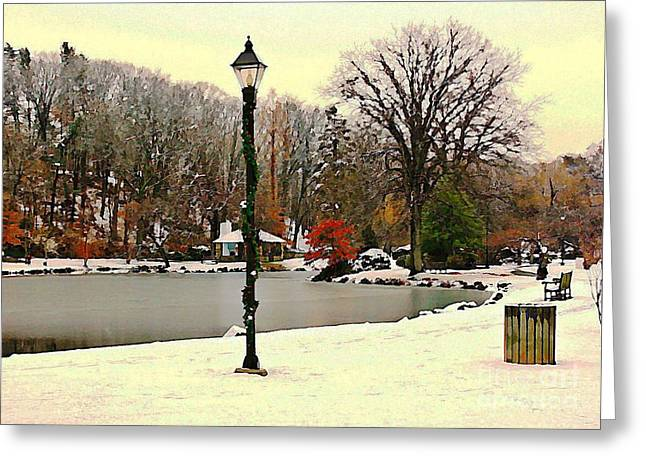 Pond In Park Greeting Cards - Winter In The Park Greeting Card by Judy Palkimas