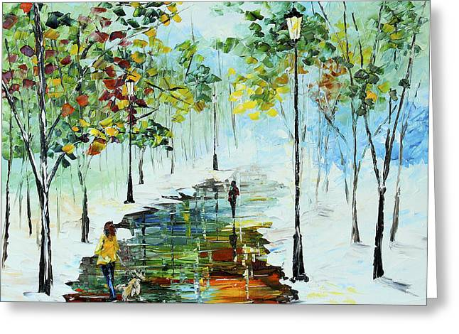 Streetlight Paintings Greeting Cards - Winter in the Park Greeting Card by Kevin  Brown