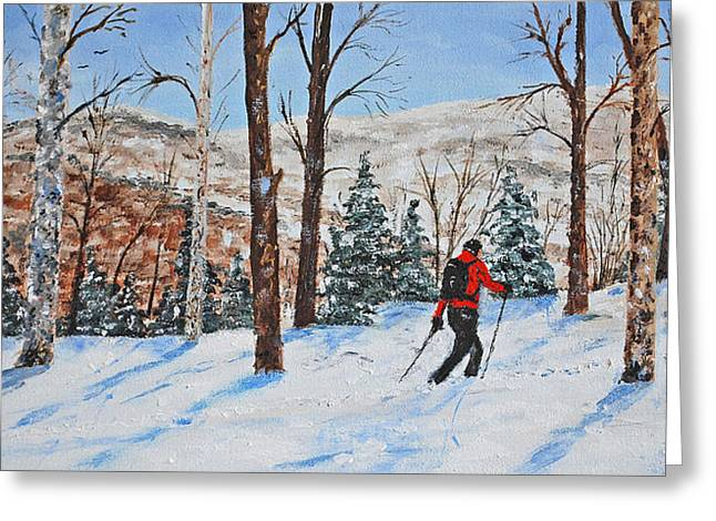 Skiing Christmas Cards Greeting Cards - Winter In The Woods Greeting Card by Stanton Allaben