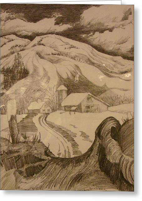 Drawings Of Barns Greeting Cards - Winter in Truckee Greeting Card by Georgia Annwell