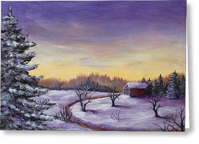 Soft Drawings Greeting Cards - Winter in Vermont Greeting Card by Anastasiya Malakhova