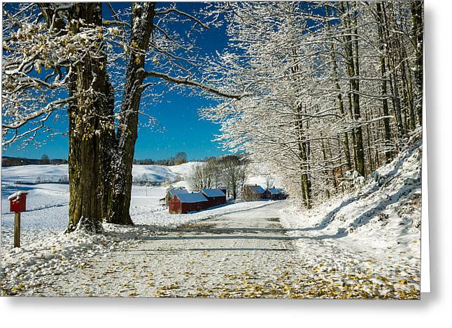 Thanksgiving Greeting Cards - Winter in Vermont Greeting Card by Edward Fielding