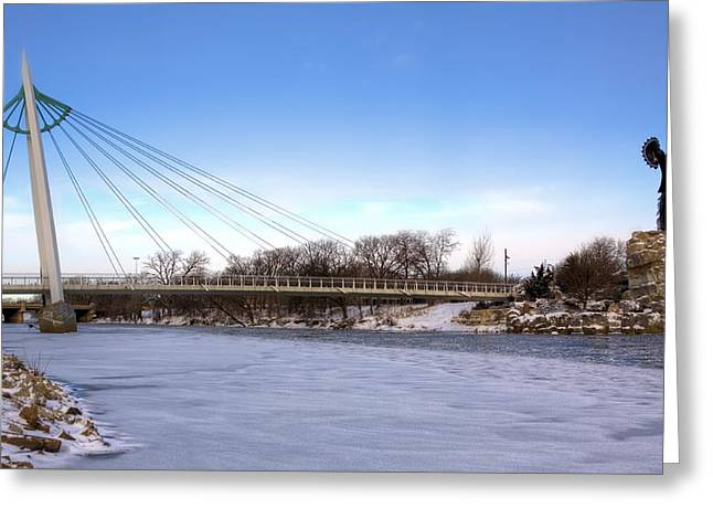 Wichita Skyline Greeting Cards - Winter in Wichita Greeting Card by JC Findley