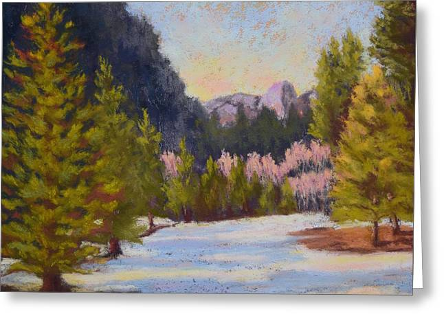 Domes Pastels Greeting Cards - Winter in Yosemite Greeting Card by Nancy Jolley