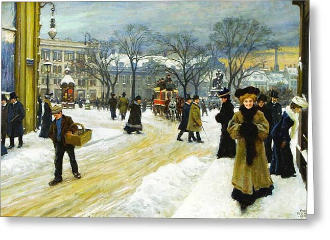 Winter Into Kongens Greeting Card by Paul Gustav Fischer