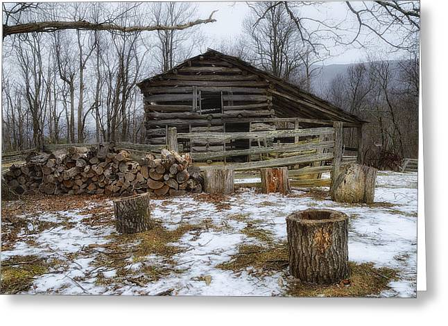 Woodpile Greeting Cards - Winter is Coming to the Farm Greeting Card by Steve Hurt