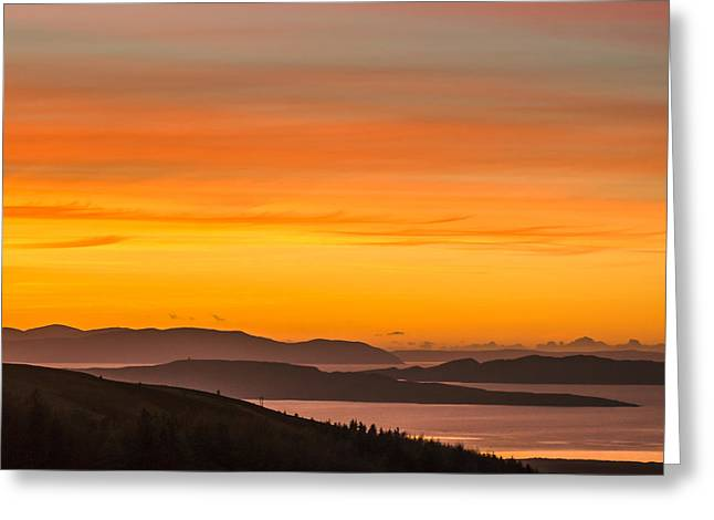 Gloaming Greeting Cards - Winter Island Sunset Greeting Card by Tylie Duff