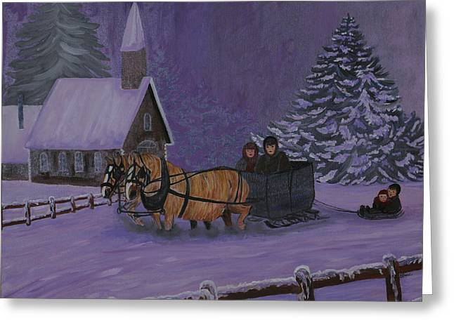 Sled.fence Greeting Cards - Winter Joy Ride Greeting Card by BJ Hilton Hitchcock