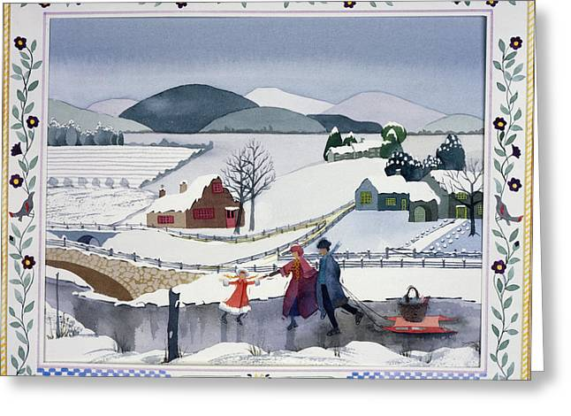Ice-skating Greeting Cards - Winter Greeting Card by Julia Rowntree