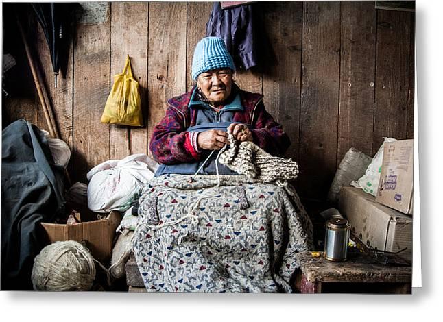 Tibetan Woman Greeting Cards - Winter Knitting Greeting Card by James McRae