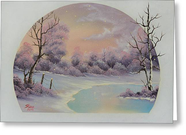 Bob Ross Paintings Greeting Cards - December Frost Greeting Card by C Steele