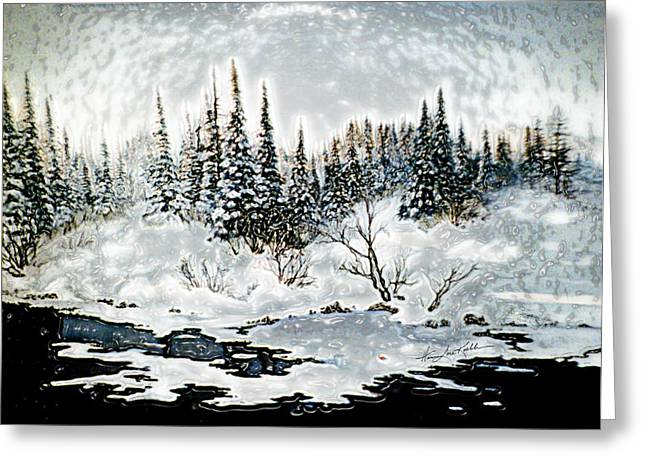 Snow Tree Prints Digital Greeting Cards - Winter Lake Sunset 2 Greeting Card by Hanne Lore Koehler