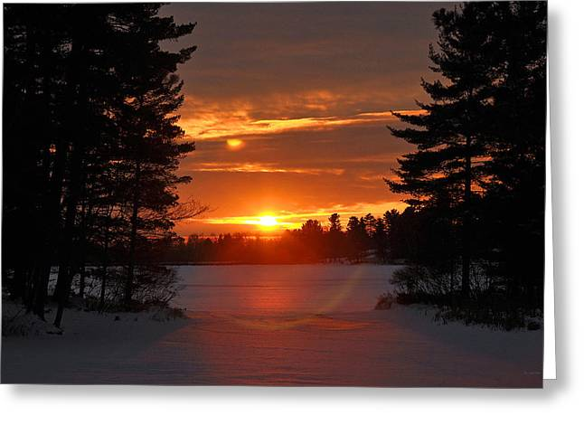 Rj Martens Greeting Cards - Winter Lake Sunset Greeting Card by RJ Martens