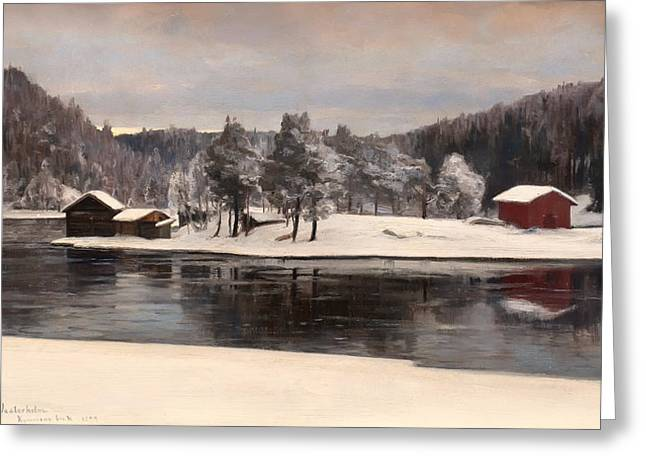 Snow On Barn Greeting Cards - Winter Landscape 1899 Greeting Card by Westerholm