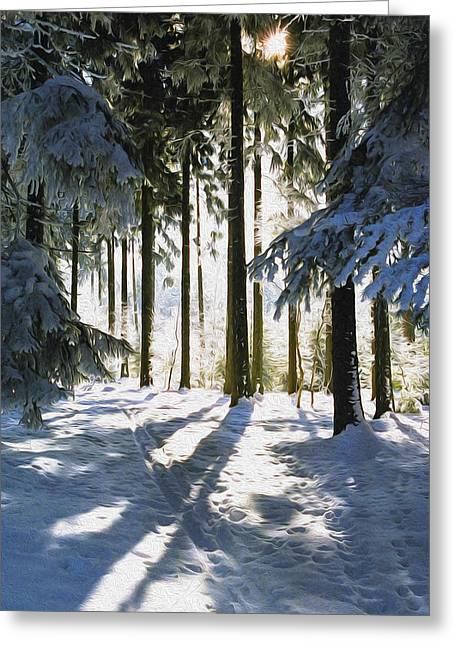 Peaceful Scenery Greeting Cards - Winter Landscape Greeting Card by Aged Pixel