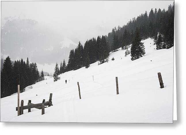 Wooden Stake Greeting Cards - Winter landscape in the alps Greeting Card by Matthias Hauser