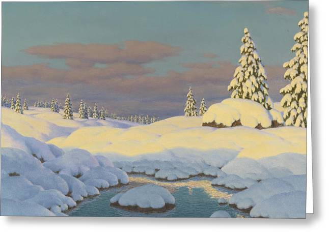 Ivan Greeting Cards - Winter landscape Greeting Card by Ivan Fedorovich Choultse