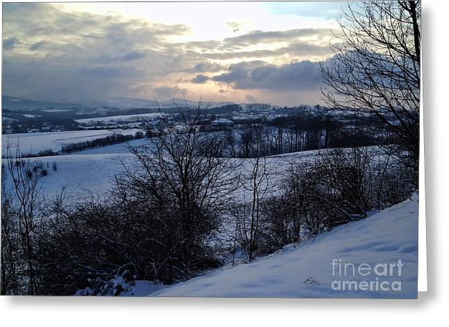 Sunset After A Storm Greeting Cards - Winter Landscape Greeting Card by Mariola Bitner