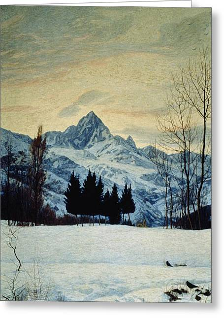 Nineteen-tens Greeting Cards - Winter Landscape Greeting Card by Matteo Olivero