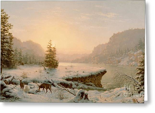 Sunset Scene Greeting Cards - Winter Landscape Greeting Card by Mortimer L Smith