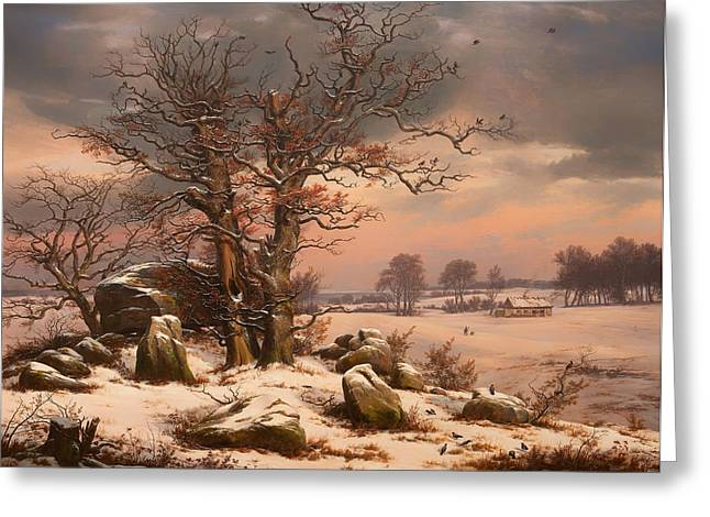 Snowy Evening Paintings Greeting Cards - Winter Landscape near Vordingborg Denmark Greeting Card by J C Dahl