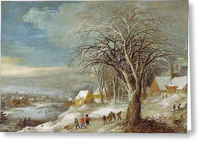 Hiver Greeting Cards - Winter Landscape Oil On Canvas Greeting Card by Joos or Josse de, The Younger Momper
