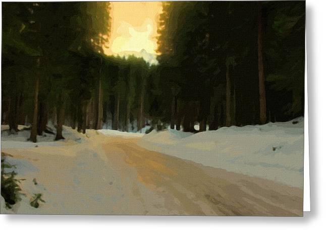 Sunset Framed Prints Greeting Cards - Winter Landscape painting Greeting Card by Victor Gladkiy