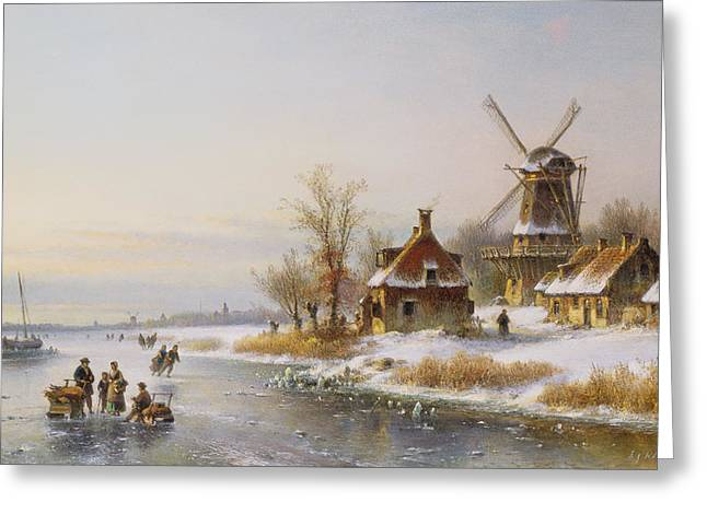 Sledge Greeting Cards - Winter Landscape With A Windmill, 19th Century Greeting Card by J. Kleyn Lodewyk