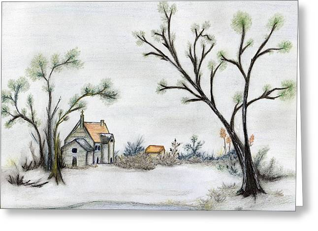 Winter Scene Pastels Greeting Cards - Winter Landscape with Cottage Greeting Card by Christine Corretti