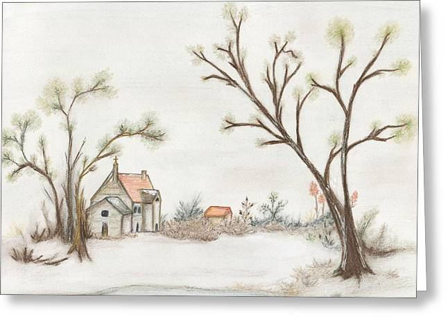 Winter Scene Pastels Greeting Cards - Winter Landscape with Cottage II Greeting Card by Christine Corretti