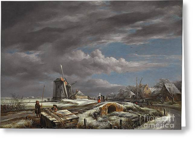 Beyond Greeting Cards - Winter landscape with figures on a path Greeting Card by John Constable