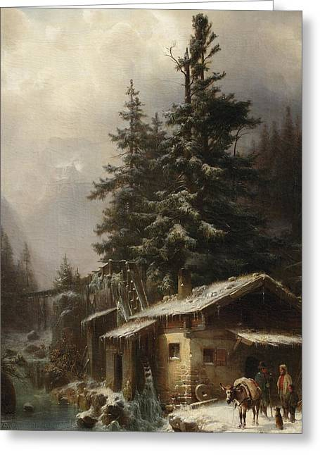 Dog In Snow Greeting Cards - Winter landscape with figures resting near a water mill Greeting Card by Heinrich Hofer
