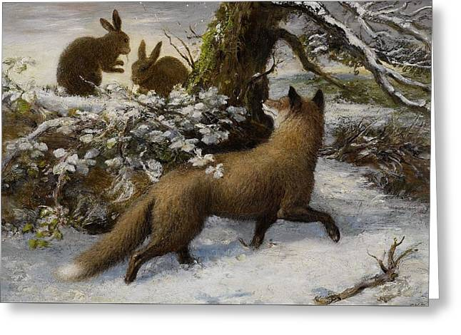 Winter Landscape With Fox And Hares Greeting Card by Ebenezer Newman Downard
