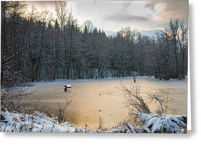 Snow Scene Landscape Greeting Cards - Winter landscape with frozen lake and warm evening twilight Greeting Card by Matthias Hauser
