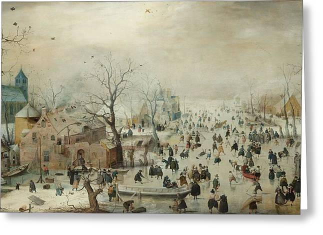 Canoe Photographs Greeting Cards - Winter Landscape With Skaters. C.1608 Oil On Panel Greeting Card by Hendrik Avercamp