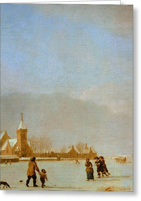 Sledge Photographs Greeting Cards - Winter Landscape With Skaters Oil On Panel Greeting Card by Adriaen van de Velde