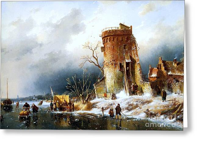 Nature Scene Paintings Greeting Cards - Winter Landscape with Sun Greeting Card by Pg Reproductions