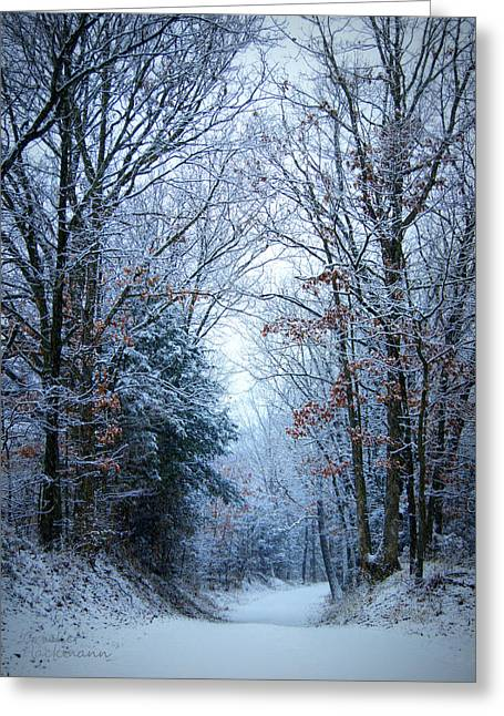 Winter Lane Greeting Card by Cricket Hackmann