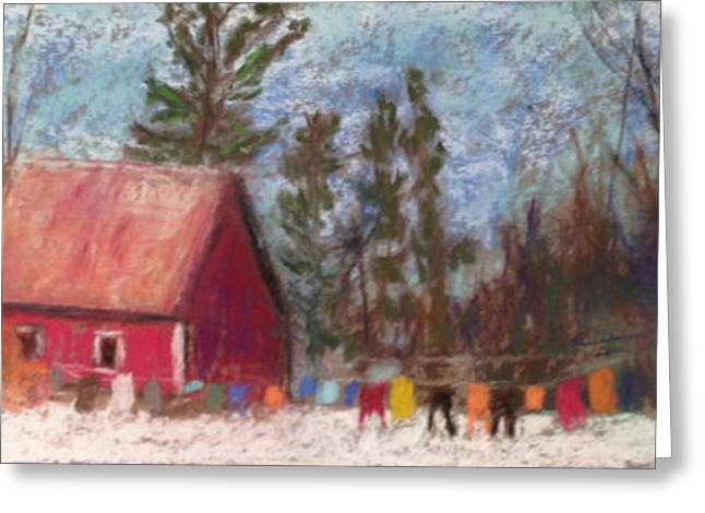 New England. Pastels Greeting Cards - Winter Laundry Greeting Card by Linda Dessaint