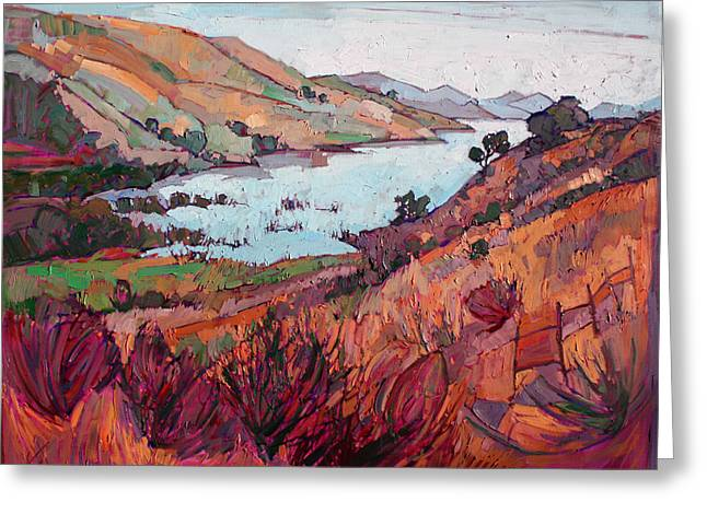 Wine Country. Greeting Cards - Winter Lavender Greeting Card by Erin Hanson
