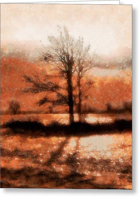 Web Paintings Greeting Cards - Winter Light Autumn Shadows Greeting Card by Dan Sproul