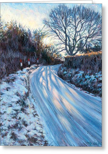 Winter Light Paintings Greeting Cards - Winter Light Greeting Card by Tilly Willis
